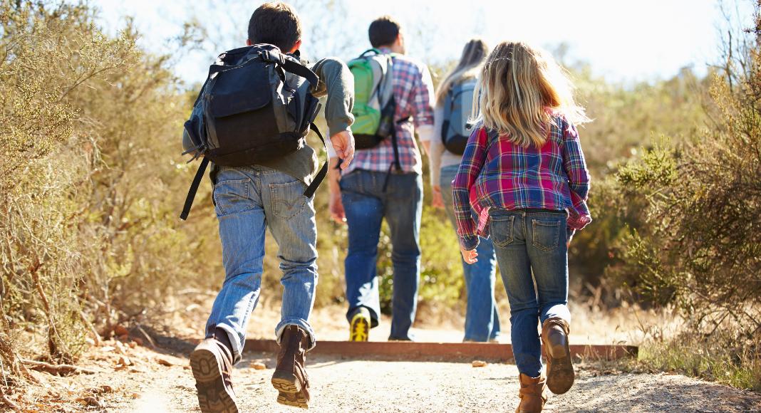 a group enjoys family hikes
